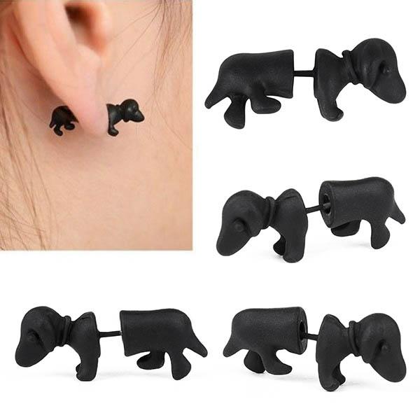 1piece Punk Rock Trendy Cool 3D Stereoscopic Dachshund/Dog Impalement Lady/Men/Women/Unisex Ear Stud Party Earring(China (Mainland))