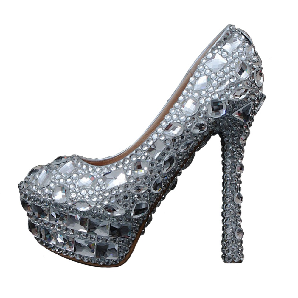Silver Spiked Heels