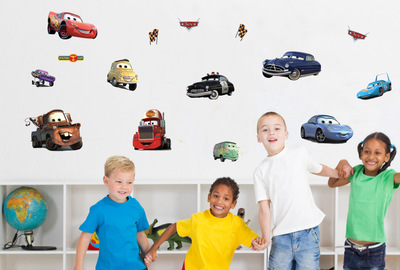 Cartoon Car Wall Art Decal Sticker Kids Room Nursery Anime Wallpaper Decoration Poster Creative Boys Room Art Decor Decal(China (Mainland))