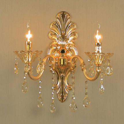 Фотография Kirsite crystal 1 head/2 heads bedroom bedside wall lamp gold crystal wall light zinc alloy crystal candle E14 bulb wall light