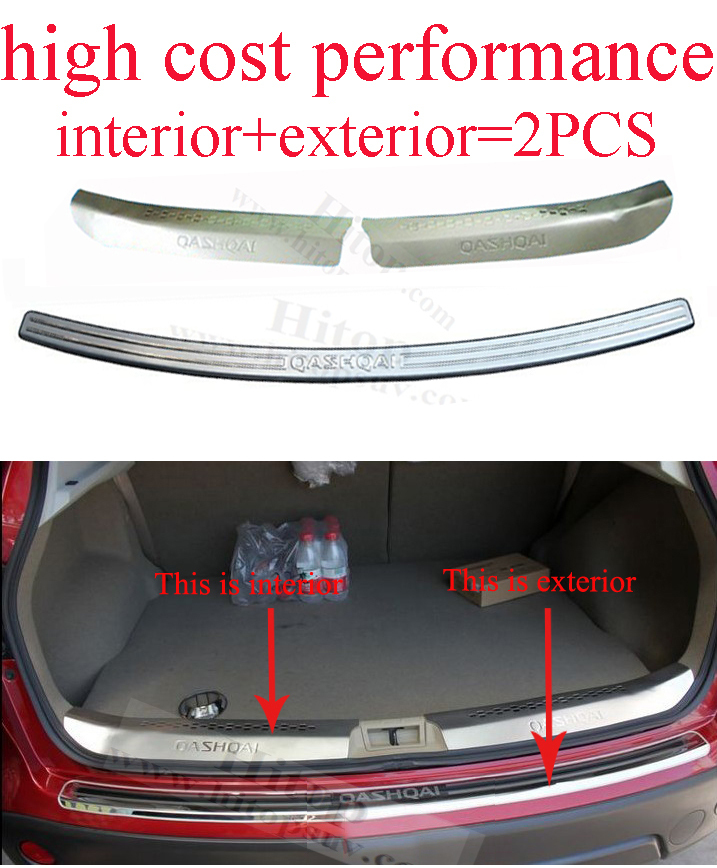 Qashqai 2008-2015 rear trunk bumper protector sill scuff plate, GT genuine,interior+exterior total 2pcs,high cost performance(China (Mainland))