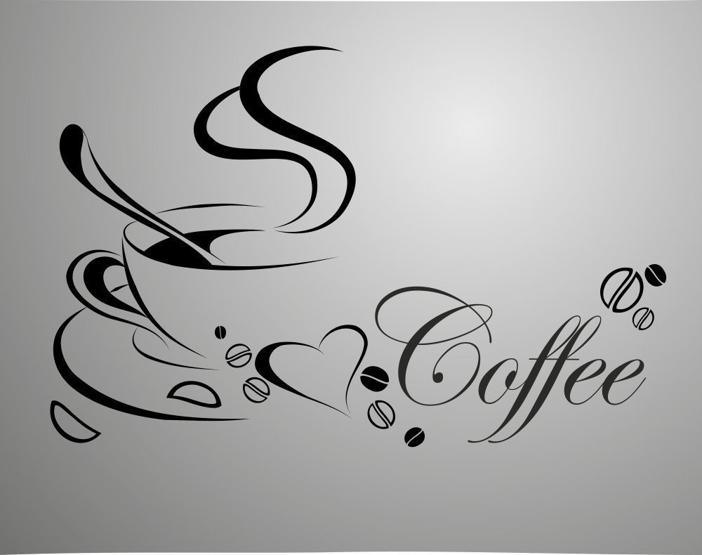 Coffee cup free shipping vinyl quote removable wall - Stickers para decorar paredes ...
