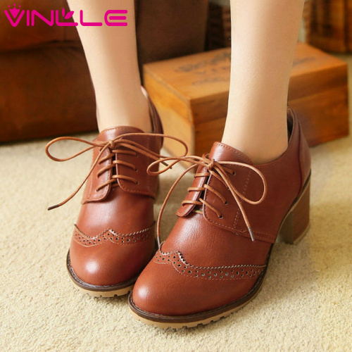 VINLLE 2014 new women shoes for lace-up and pierced Oxfords Spring and Autumn school oxford shoes Wedding Shoes size 34-43<br><br>Aliexpress