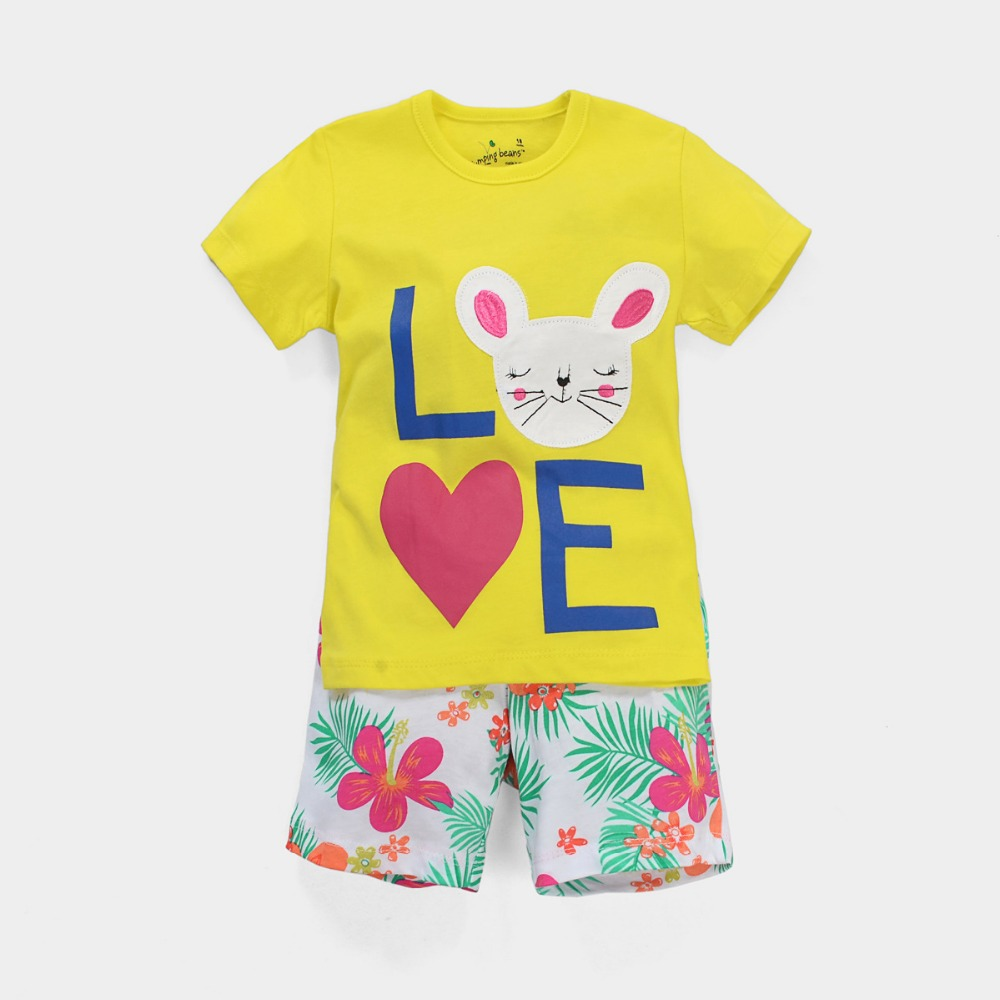 Free Shipping 6sets/lot Jumping Beans New Arrival 18M-6T Baby Girls Love Cat Short-sleeved T shirt and Floral Shorts Set<br><br>Aliexpress