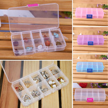 4 Colors 10 Grids Adjustable Jewelry Tool Box Beads Pills Organizer Nail Art Tip Storage Box Case hard transparent Plastic &WL11(China (Mainland))