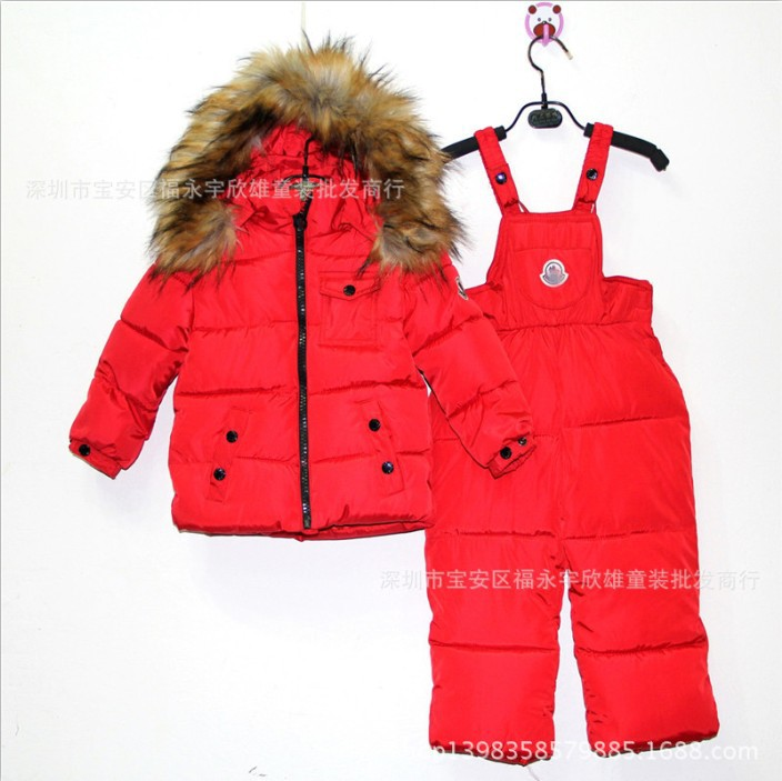 Unisex winter warm down jacket suit boy girl baby sets baby down Overalls pants Children's warm winter Clothing Set 1011(China (Mainland))