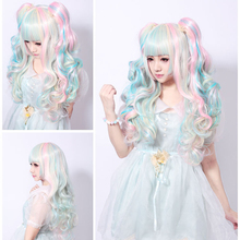 68CM Lolita Wig Pink Blue Mixed Beige Ombre Long Curly Clip-In Ponytails Full Bangs Cosplay Wig Party Wigs Three-Piece Suit(China (Mainland))