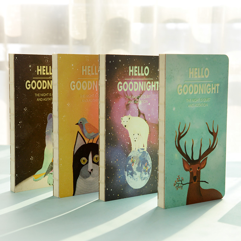 Hello goodnight notebook Magic fluorescent hard copybook Sketchbook diary note stationery office material School supplies 6652<br><br>Aliexpress