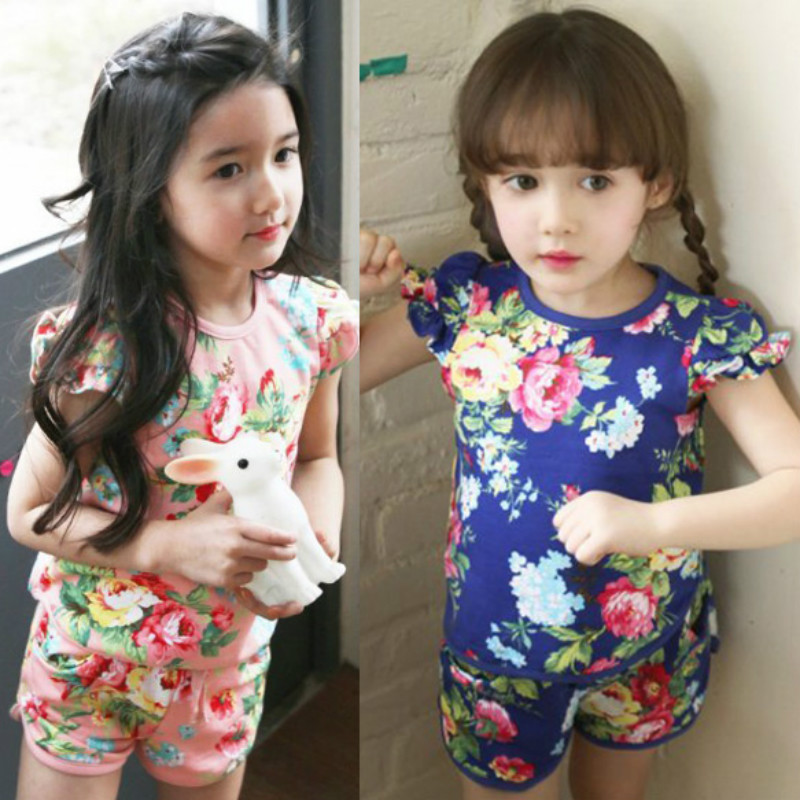 toddler girl clothing 2016 summer flower puff sleeve children's clothing baby kids short-sleeve short trousers set(China (Mainland))