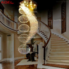 Stylish modern restaurant lights crystal chandelier ball double staircase staircase living room hanging wire crystal lamp(China (Mainland))