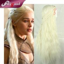 70CM Daenerys Targaryen Wig Dragon Princess Game Of Thrones Braiding Long Curly Wave Hair Light Blonde Cosplay Wig(China (Mainland))