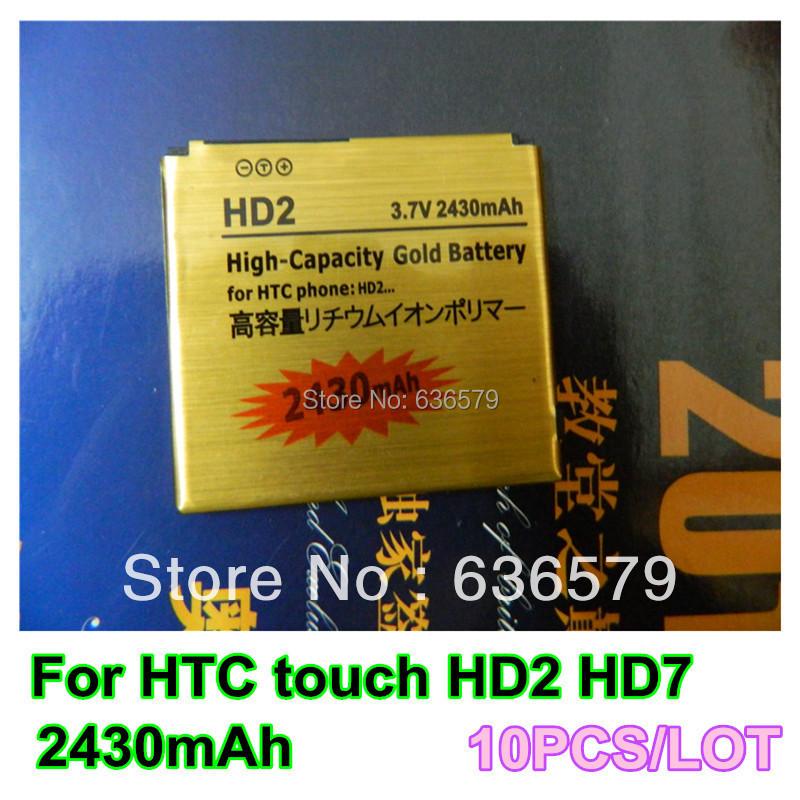 Wholesale 10PCS/LOT 2430mAh gold business battery for HTC touch HD2 HD7 HD ll T8585 Leo100 T8588 Batterie Bateria Batterij AKKU(China (Mainland))
