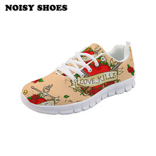 Sneaker Dames leuke Mexico skeleton nep flow rose Vrouw Casual Little Ademend Sneakers Schoenen Tenis comfortabel licht-AQ(China)