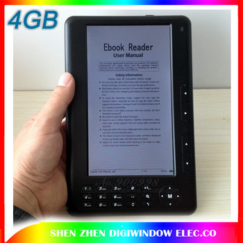 7inch Color Screen 4GB E-book Reader + Speaker+ Support MP3 MP4 Video Player+Waterproof bag 1pcs  Free shipping