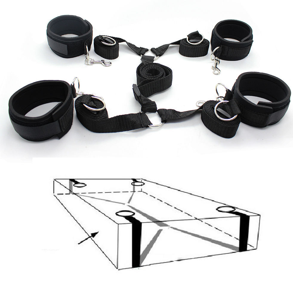 Adult Sex Bondage Toy Under The Bed Restraint Kit System with Wrist & Ankle Cuffs Kinky Bedroom Fun(China (Mainland))