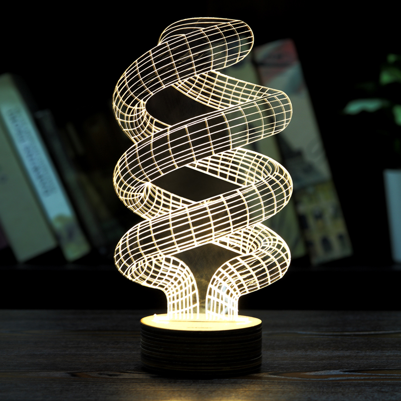 1piece HOME Decor Magical Optical Illusion 3D Wood Mood Lamp Micro USB Table Glowing Light Novelty Free Shipping(China (Mainland))