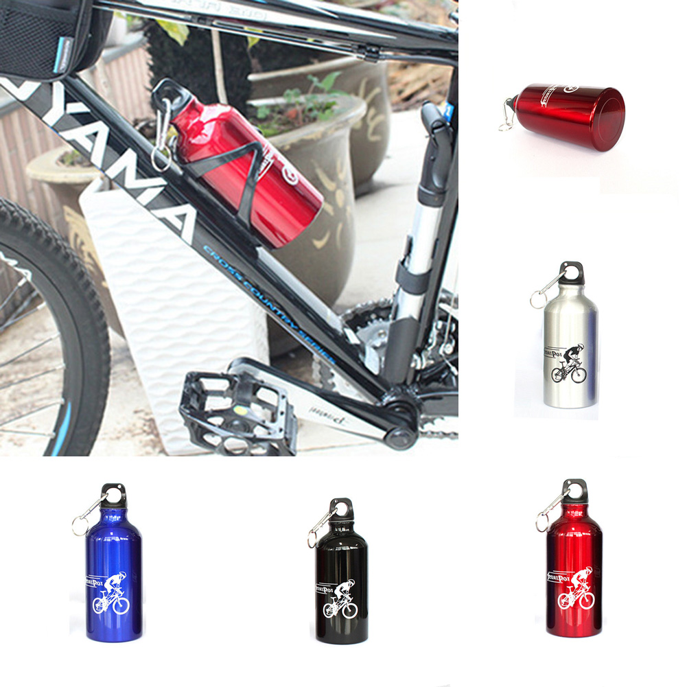 2016 Hot Sale Aluminum Alloy Bicycle Bike Cycling Bottle With Carabiner Sports Mountaineering Water Bottles 500ML Kettle(China (Mainland))