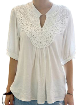 2015 New Fashion Women Stylish Grace Lace Splicing Crochet Flower Half Sleeve Casual T Shirt Plus Size Tops White Free Shipping(China (Mainland))