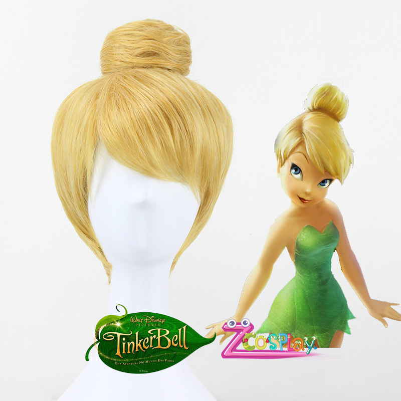 Princess Tinker Bell Wig Tinkerbell Blonde Bun gold Cosplay Wig for ...