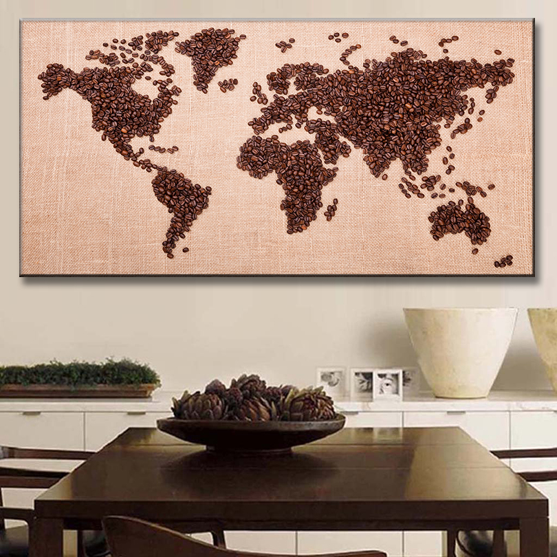 1 PCS/Set Huge Coffee Bean Combine Map Painting Prints on Canvas Amazing Abstract World Map Wall Art For Coffee Shop Decor(China (Mainland))