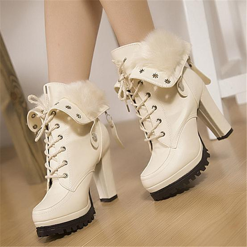 autumn winter white leather rubber high heel boots