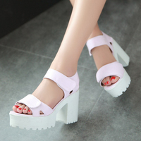 Fashio High Heels Shoes Vintage Velcro Gladiator Wedding Sandals Vintage Skid-proof Summer Platform Sandals large sizeUS9-10.5