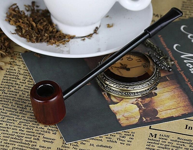 Mini Straight Shank Tobacco pipe New Business Men cigarette holder Handmade wood smoking Cigar Fashion Gift