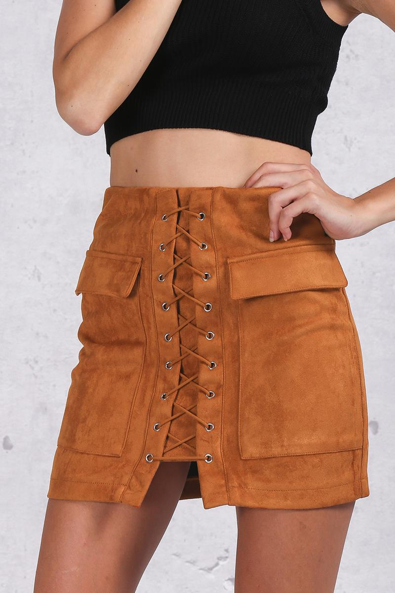 Autumn Lace-Up Suede Leather Skirt