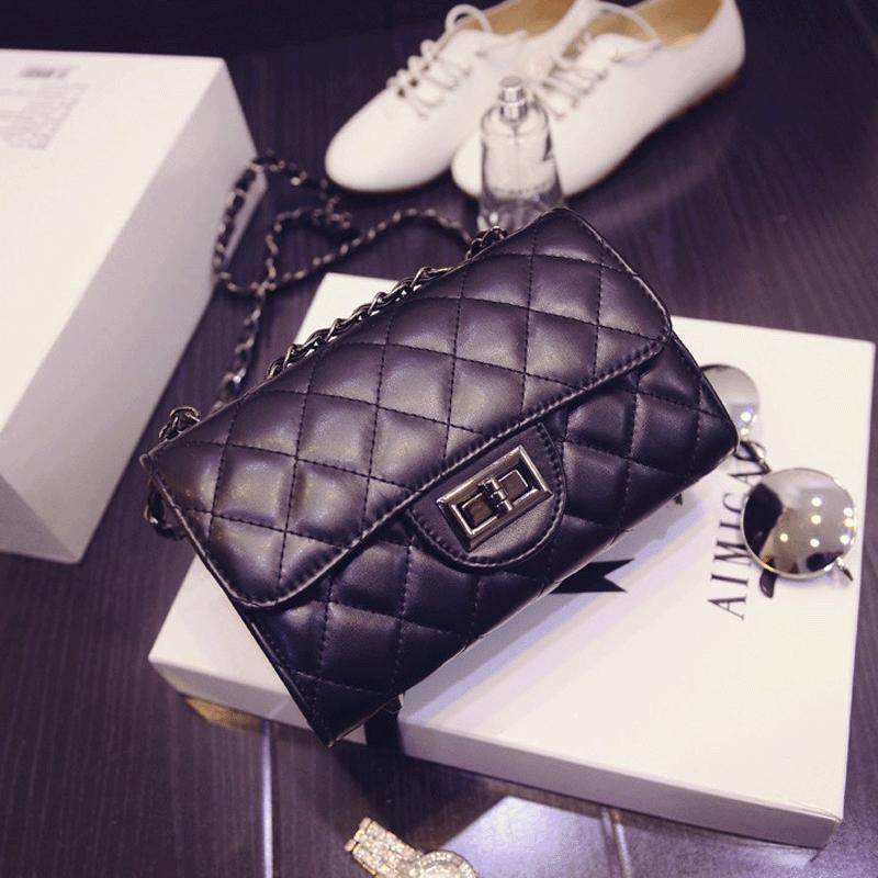 2015 Spring New Female European American Fashion Trend Retro Lattice Chain Shoulder Bag Cabinet Fitness Graceful Handbag(China (Mainland))