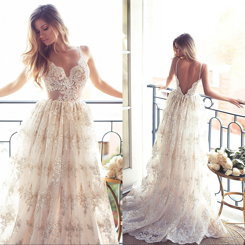 Sexy Boho Wedding Dresses 2017 Robe de Mariage Spaghetti Strap A-Line Backless Lace Bohemia Bridal Gown Beach Wedding Dress LU01
