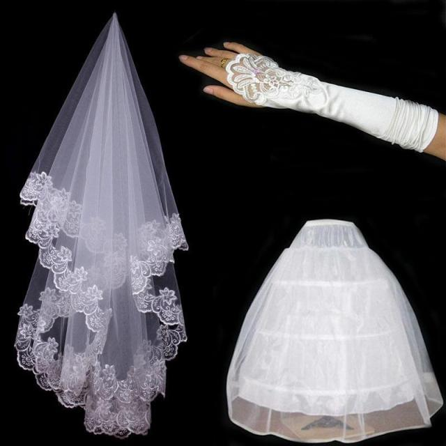 The bride married gloves veil slip piece set formal for Where to buy wedding accessories