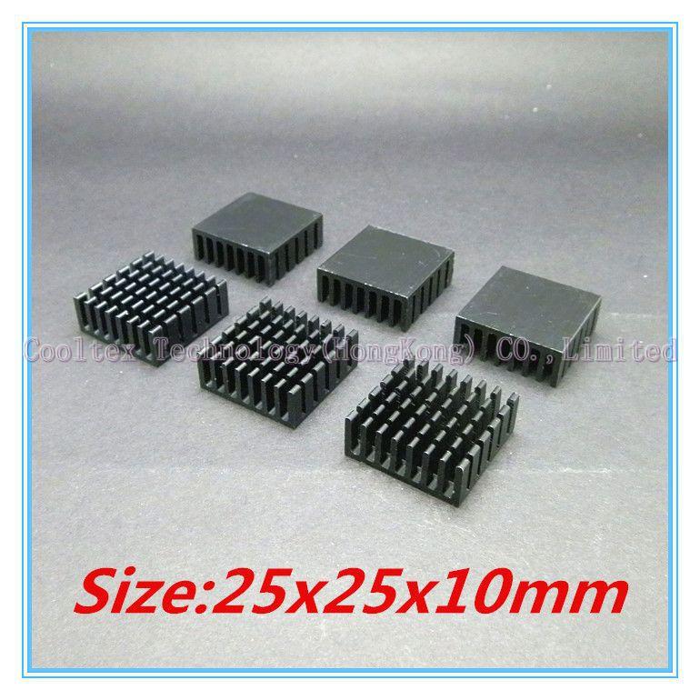 (200pcs/lot) 100% new 25x25x10mm black Aluminum heatsink  radiator heat sink  for  IC chip