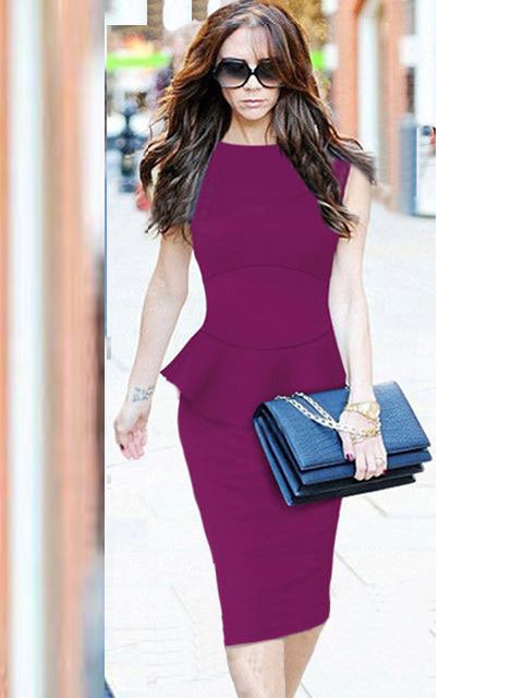 New Women Vintage Elegant font b Tartan b font Peplum Ruched Tunic Work Cocktail Party Prom