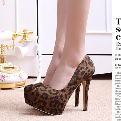 Spring women high-heeled shoes leopard print sexy shallow mouth round toe thin heels single shoes princess shoes platform(China (Mainland))
