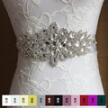 New Arrival Handmade Magnificent Crystal Bridal Belts White Ivory Ribbon paper tapesfor Women Wedding girdle Accessories