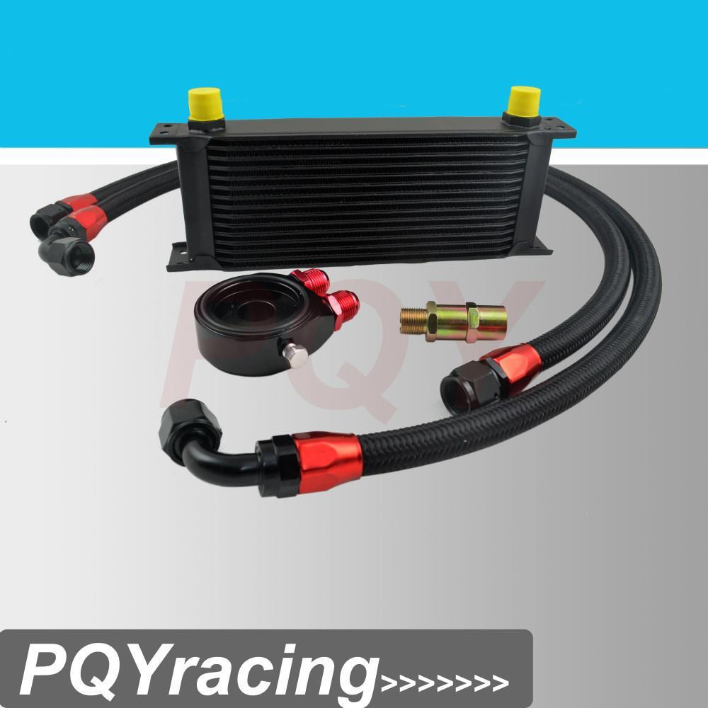 VR Racing Store- UNIVERSAL 15 ROWS OIL COOLER+OIL FILTER SANDWICH ADAPTER BLACK + SS NYLON STAINLESS STEEL BRAIDED AN10 HOSE(China (Mainland))