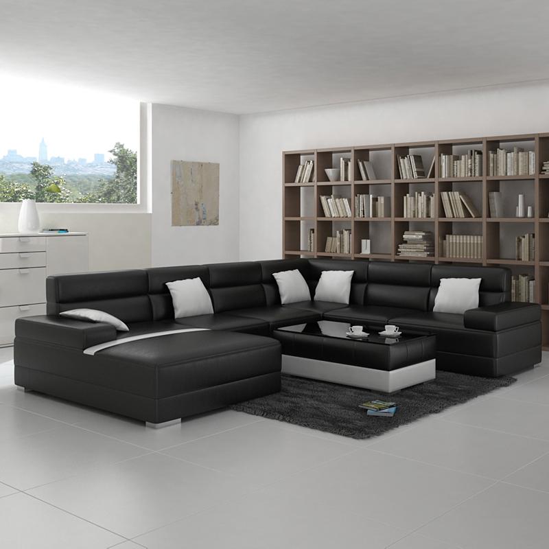 Salon Moderne Avec Canape Noir Avec Des Id Es Int Ressantes Pour La Conception De