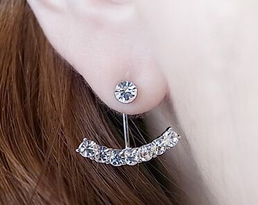 wholesale brincos 65pairs silver plated alloy sporty party rhinestone Mosaic Letter T shaped Arc Stud earrings for women 2015<br><br>Aliexpress