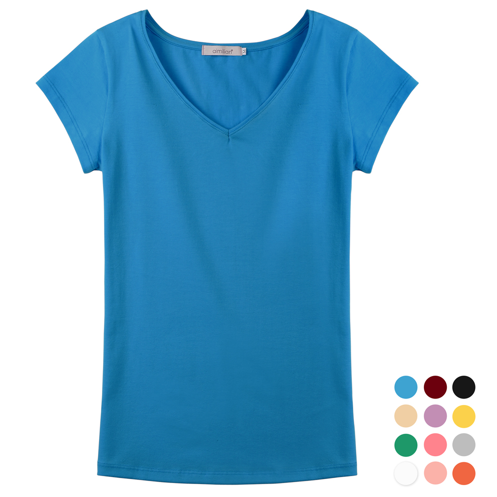 2015 female summer solid color slim v neck t shirt basic for One color t shirt