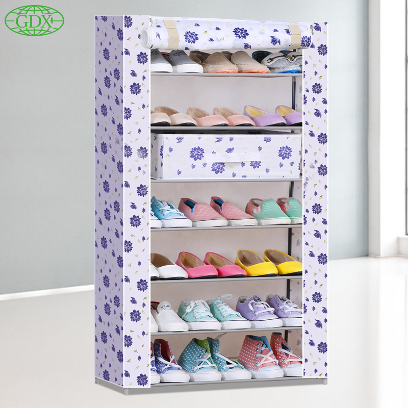 GDX 1pcs Free Shipping 7 Tiers 21 Pairs Simple DIY Non-Woven Fabric Shoes Cabinet Foldable Wetproof Shoe lockers Racks(China (Mainland))