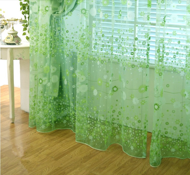Fashion Tulle Voile Door Window Curtain Drape Panel Sheer Scarf Assorted Free shipping green style(China (Mainland))