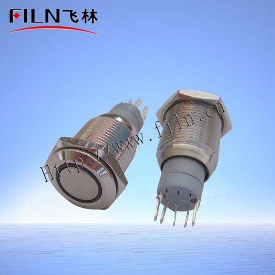 10 16mm white ring LED 24VDC flat round actuator stainless steel momentary push button switch - Wenzhou Xinglin Electrical Fittings Factory store