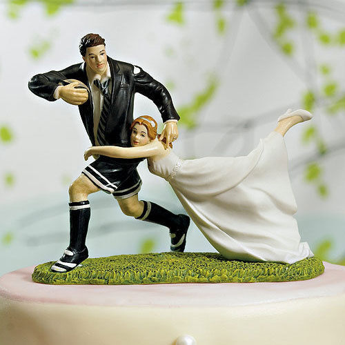 Football Couple Cake Topper Couple Wedding Cake Topper
