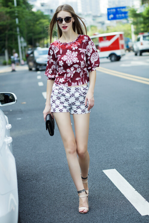 Summer style women two pieces printing shot pant embroidery top set - Ruhong Jewelry store
