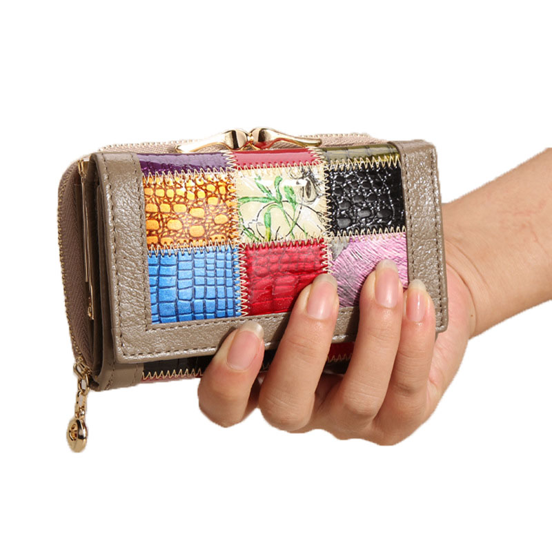 2016 New  Folding 3 100% Genuine Leather Women  Hasp Wallets Cards Holder Bag Short Famous Brand Designer Clutch<br><br>Aliexpress