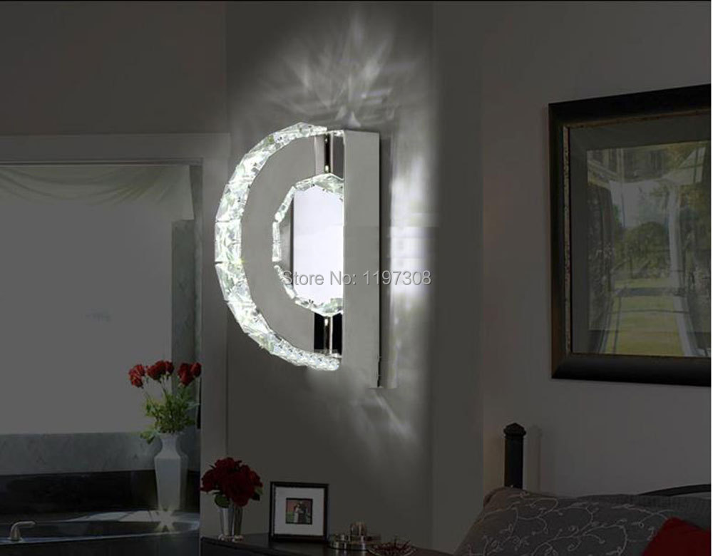 lamp k9 crystal sconce led hotel bedroom stairs wall light home indoor