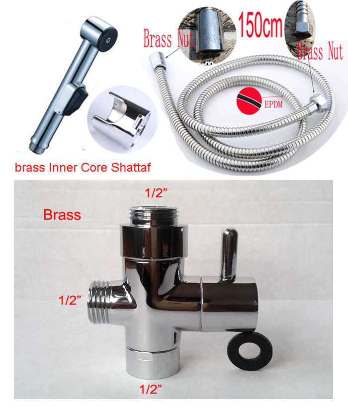 Chrome plated Toilet bidet shattaf set including ABS shattaf spray + 1.5m shower hose + brass diverter free shipping(China (Mainland))