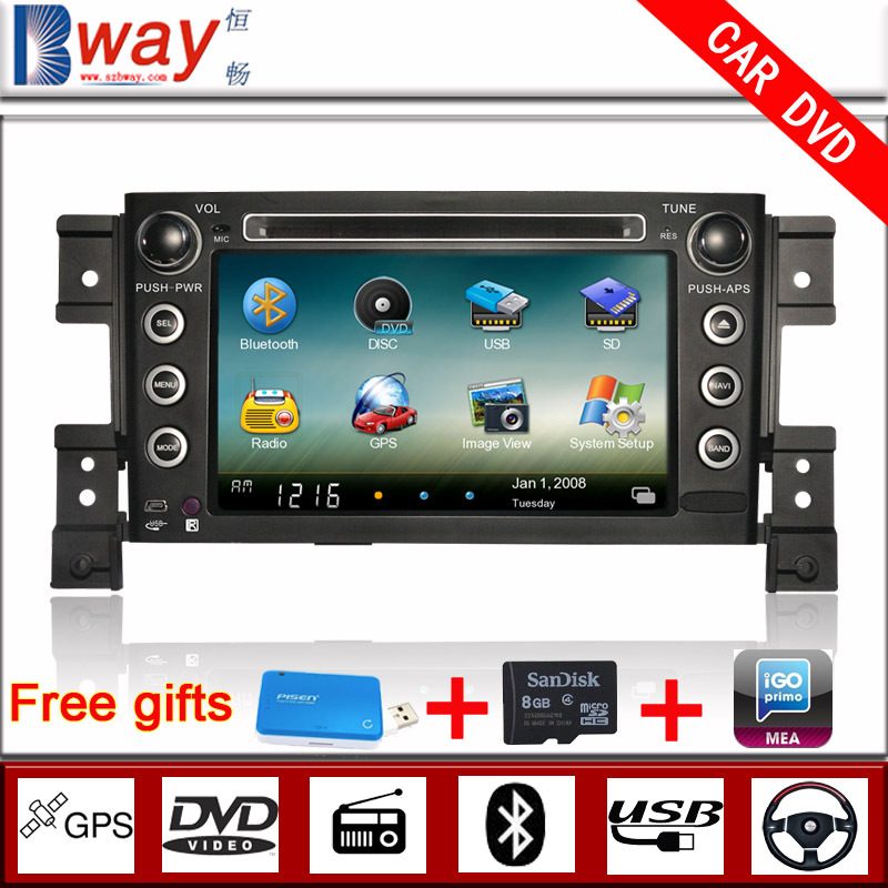 Factory price 7 inch SUZUKI Grand Vitara car dvd player with gps,steering wheel,bluetooth,radio,UBS/SD slot,Free 8GB map card(China (Mainland))