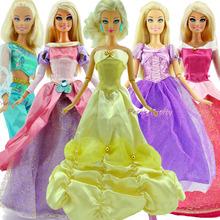 5 Set Original Princess Dress For Cinderella Wedding Clothes Pretend Play Outfits For Barbie Doll Girl xMas Gift Baby Toys(China (Mainland))