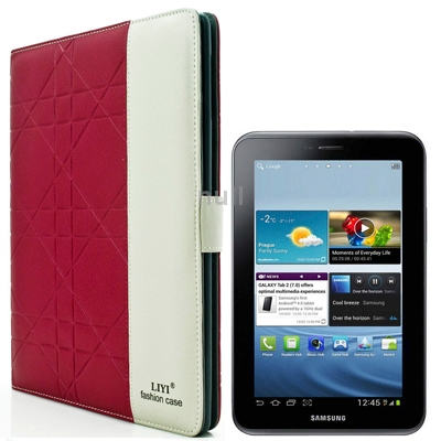Гаджет  Magenta 2-color Embossing Pattern Flip Leather Case with Holder and Credit Card Slot for Samsung Galaxy Tab 2 / P3100 / P6200 None Изготовление под заказ